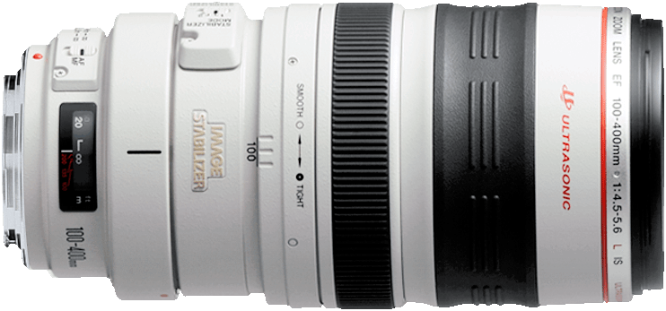 Unique supertelephoto lens with a push-pull zoom mechanism.  Unparalled range and L glass quaility images.