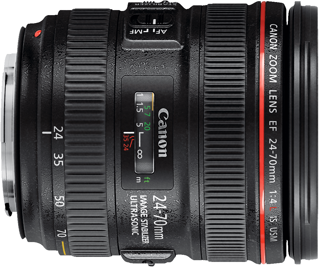 A smaller and lighter alternative to the 24-70mm f/2.8 lens, the f/4L version adds an image stabilzer and macro mode.