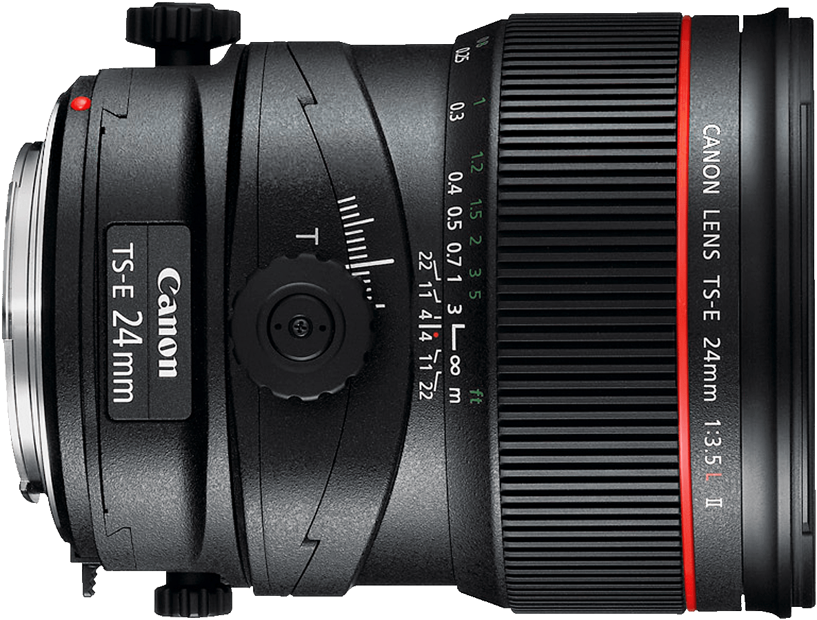 The second version of Canon's 24mm tilt-shift lens.  This lens is manual focus only.