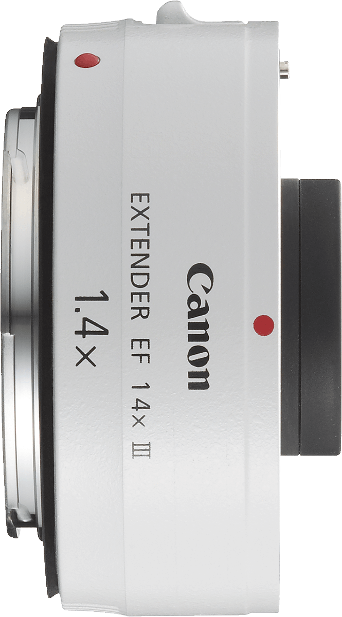This extender adds 1.4x to the focal length for a one stop loss of light.