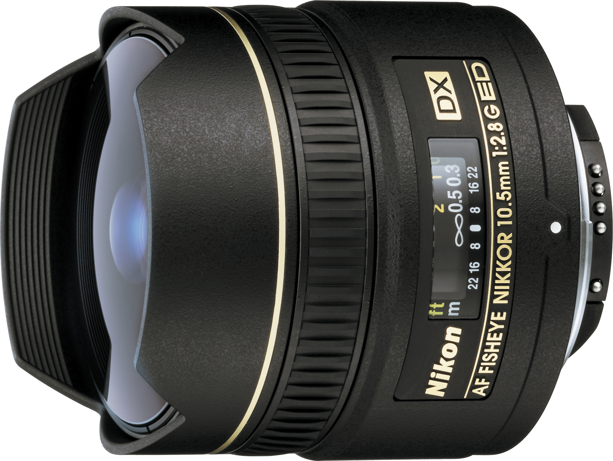 Fisheye lens from Nikon for very wide angle photography.  Designed for crop sensor cameras but will fit full frame cameras in DX crop mode.